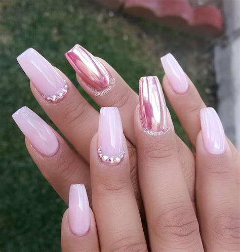 pink chrome pink chrome accent nail with swarovski crystals start