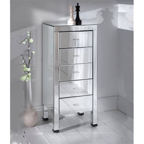 Small Mirrored Cabinet by Romano Small 5 Drawer Mirrored Chest Romano Mirrored