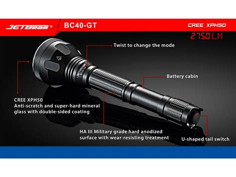 Led Xhp50 jetbeam bc40gt flashlight searchlight 2750lm cree
