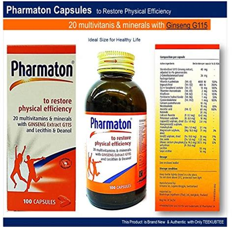 Pharmaton Ginseng pharmaton 20 multivitamins minerals with ginseng g115 lecithin and deanol capsules active