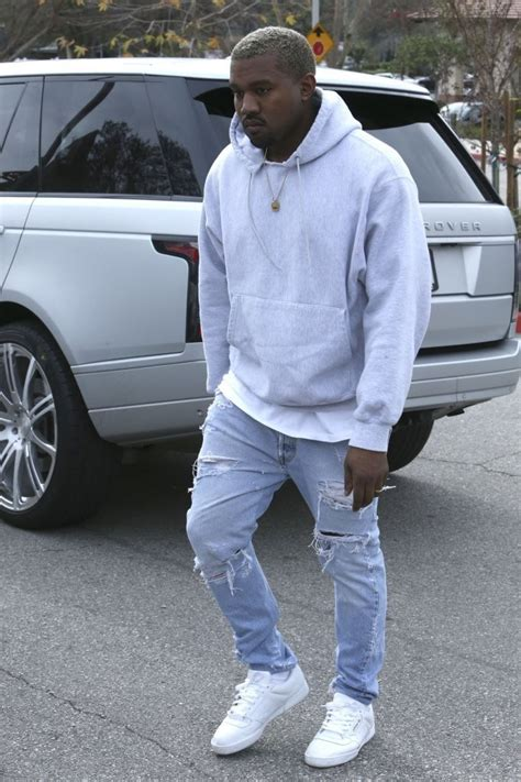 kanye west goes for lunch with wearing levi s and adidas yeezy season