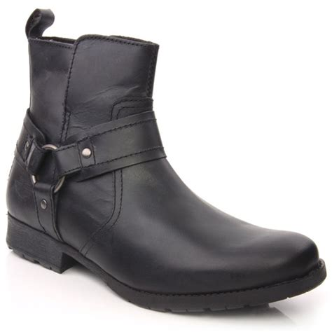 unze rubi mens leather buckled zip up ankle winter boots