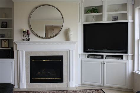 custom built in bookcases traditional family room