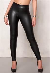 pieces new shiny leggings black bubbleroom