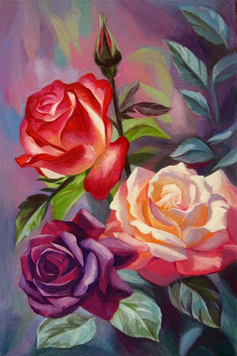 acrylic painting roses pretty multi colored painting painting ideas