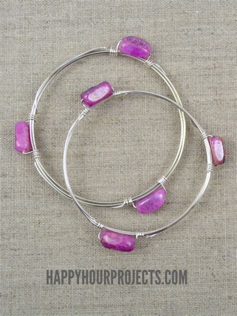 diy wire wrapped bead bangle tutorial happy hour