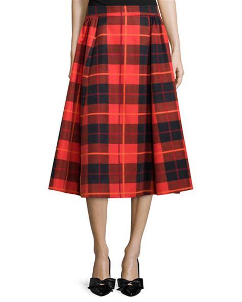 kate spade new york pleated plaid midi skirt