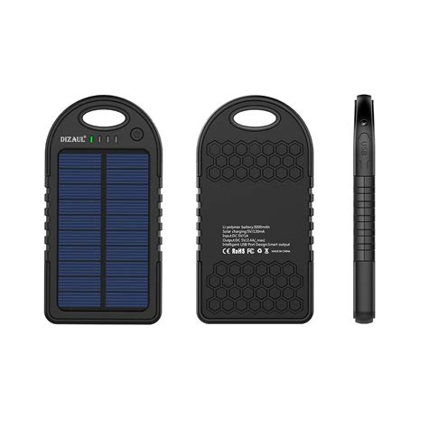 Charger Power Bank solar charger dizaul 5000mah portable solar power bank