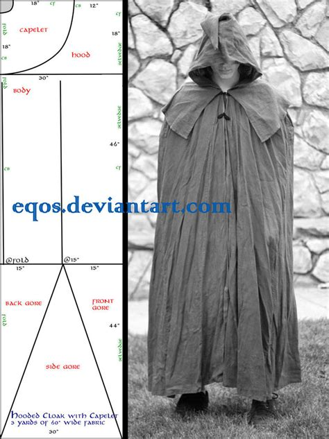 cloak template pattern cloak with capelet by eqos on deviantart