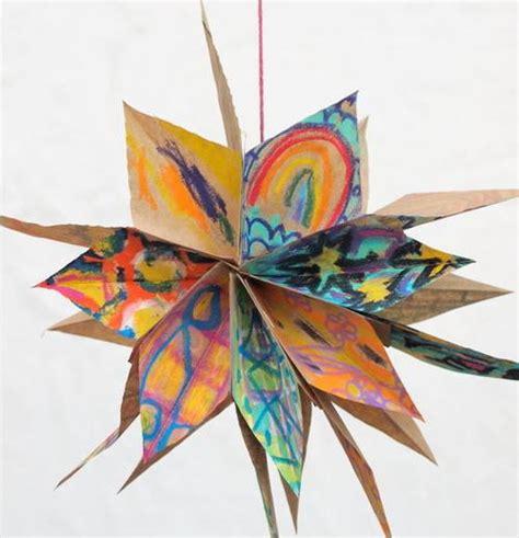 colorful paper bag star diy ornament