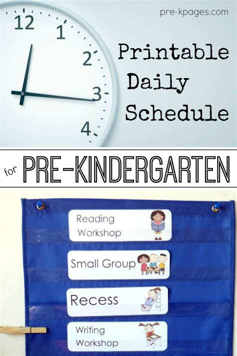 printable daily schedule for day care pre k preschool schedule full day half day