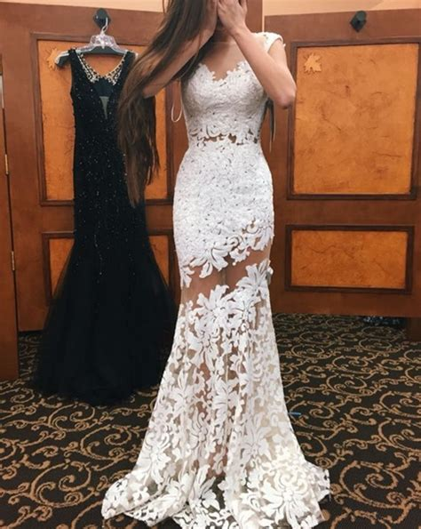 Informal White Wedding Dresses by Formal Dress White Lace Prom Dress Sweetheart Mermaid