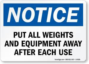 Bathroom Signage Put All Weights And Equipment Away After Each Use Sign