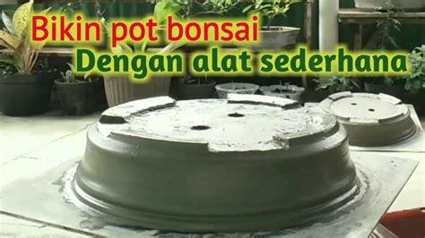 membuat pot bonsai  semen  alat sederhana