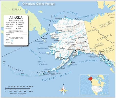 map of the united states with alaska maps of alaska state usa nations project