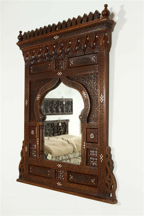 Middle Eastern Furniture by Large Middle Eastern Syrian Mirror Inlaid With Of