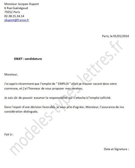 Www Exemple De Lettre Demande D Emploi Mod 232 Le De Lettre Demande D Emploi Aupr 233 S De La Commune