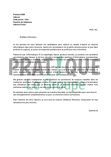 Lettre De Motivation De Securite Lettre De Motivation Pour Un Emploi D Expert En S 233 Curit 233 Informatique Confirm 233 Pratique Fr
