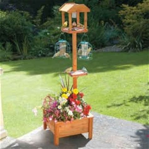 bird feeding station table planter w solar light 49