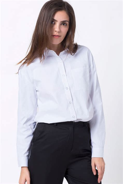 white long sleeve button  casual shirt  womens shirts