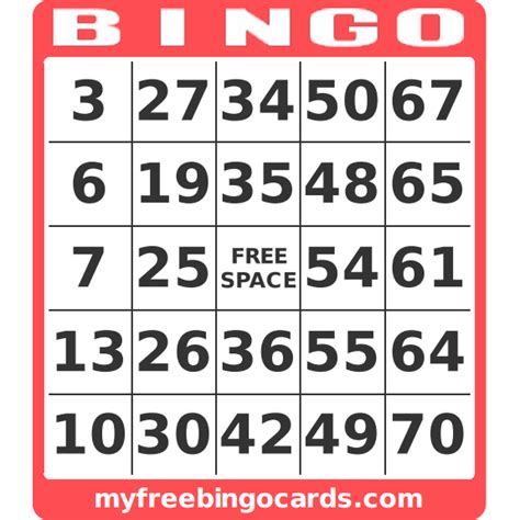 Bingo Card Template With Numbers by Free Custom Bingo Card Generator Myfreebingocards