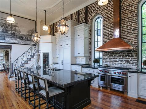 exposed brick kitchen white loft style kitchen with exposed brick wall and black