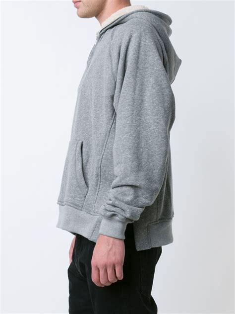 Sweater Hoodie Fear Of God Black Premium fear of god half zip sherpa hoodie in gray for lyst