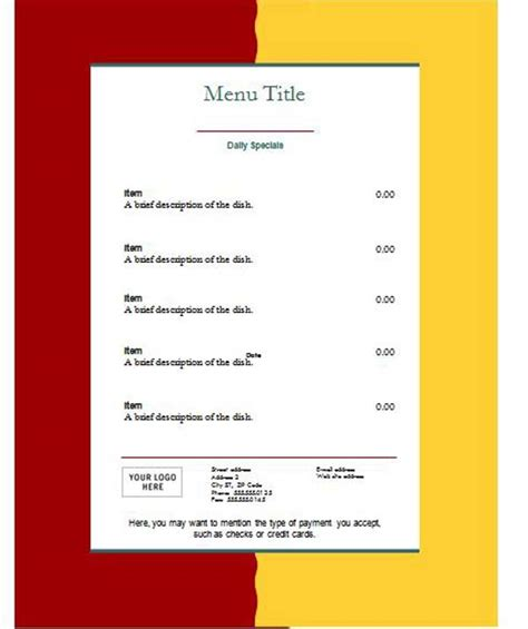 Free Menu Templates by Free Restaurant Menu Templates Microsoft Word Templates