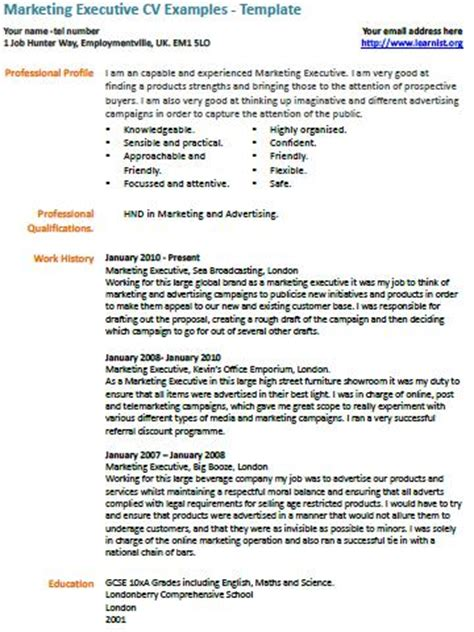 marketing executive cv template marketing executive cv exle learnist org