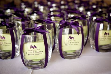 Wine Glass Wedding Giveaways - candles and customized matches wedding favor purple wedding inspiration pinterest