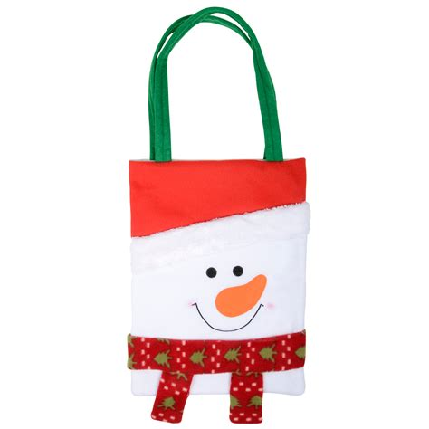 fabric frosty snowman character christmas gift bag