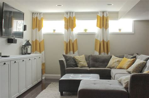 basement window curtain length basement living rooms