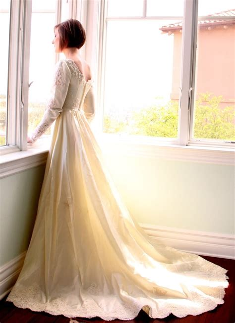 Hand Made Vintage 60s Wedding Dress In Satin And Alencon