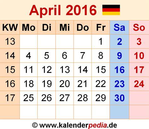 Kalender 2016 April Kalender April 2016 Als Excel Vorlagen