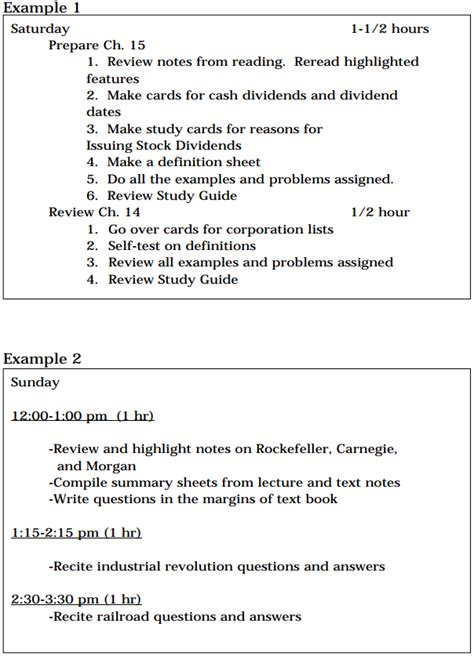 plan of study template the 5 day study plan