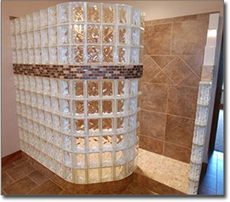 Glass block showers doorless glass block shower contractor st louis