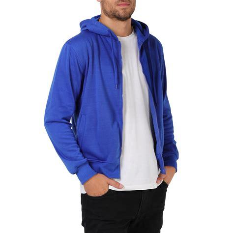 Parka Basic Hoodie mens plain basic zip up fleece hoodie hooded cotton sweatshirt jacket sport top ebay