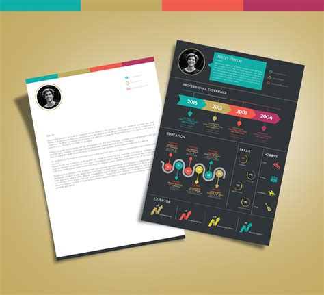 Creative Resume Template Zip by Free Creative Infographic Resume Template With Cover