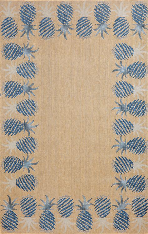 Pineapple Outdoor Rug Siesta Pineapple Border Blue 485303 Rug From The Botanical Rugs Collection At Modern Area Rugs