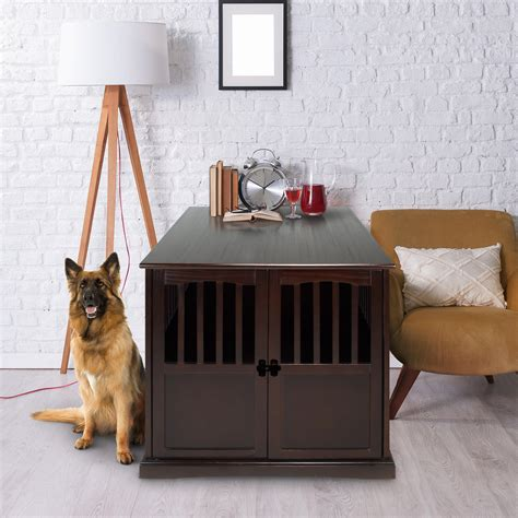 wooden extra large pet crate espresso  table walmart