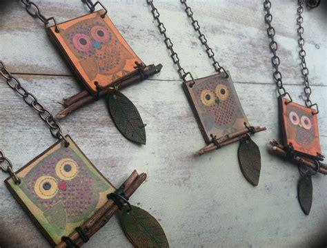 Handmade Leather Necklace - handmade leather necklace owl jewelry orange blue owl