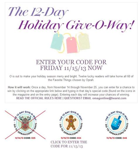 Oprah Giveaway - the 12 day holiday give o way oprah sweepstakes sweeps maniac