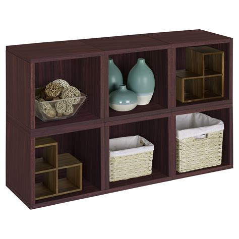 6 cube bookcase espresso way basics modular 6 cube bookcase espresso bookcases