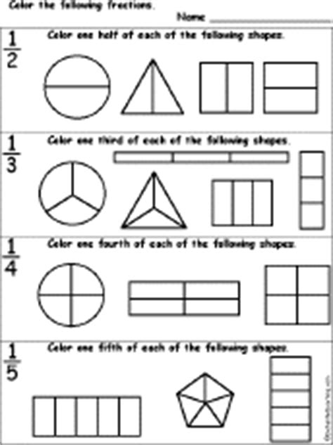 adding fractions visually third edition colour books color the fractions worksheet enchantedlearning