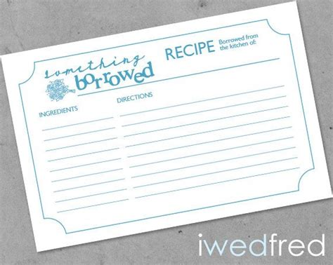 wedding shower recipe card template instant something borrowed printable bridal