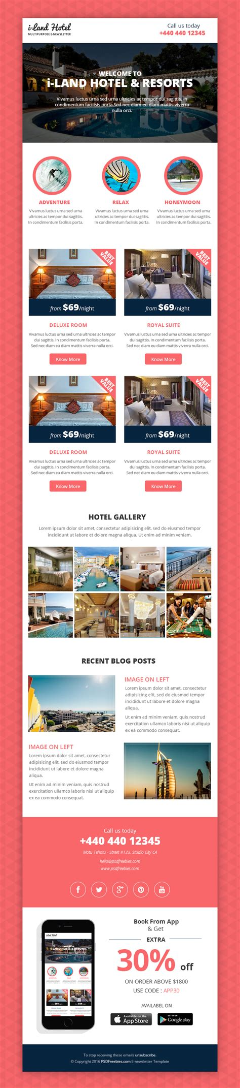 hotel newsletter layout hotel deals and offers newsletter template free psd