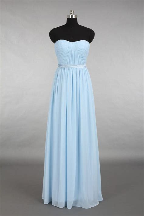 light blue floor length dress light blue bridesmaid dress strapless floor length
