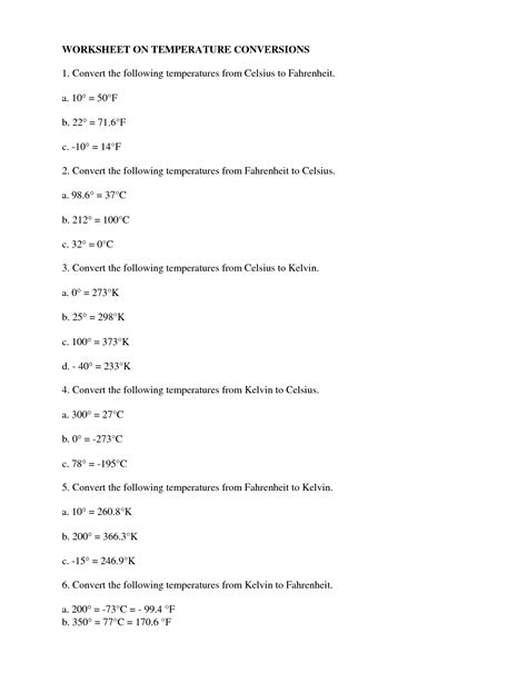 Temperature Conversion Worksheet Answers by Skills Worksheet Math Skills Temperature Conversions