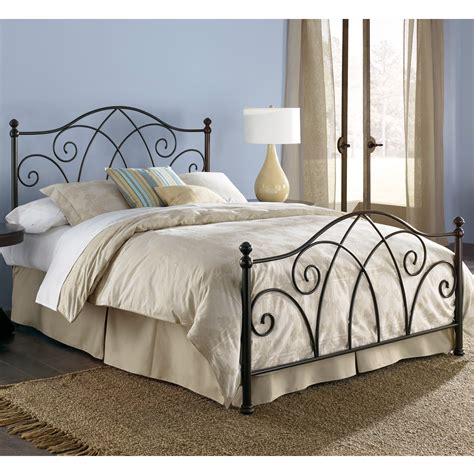 king iron bed deland iron headboard brown sparkle finish traditional design