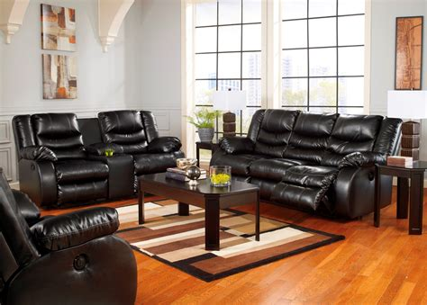 reclining living room furniture sets linebacker durablend black reclining living room set from